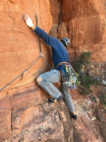 Rock Climbing Photo: Starting the pitch 1 traverse. Super awkward down ...
