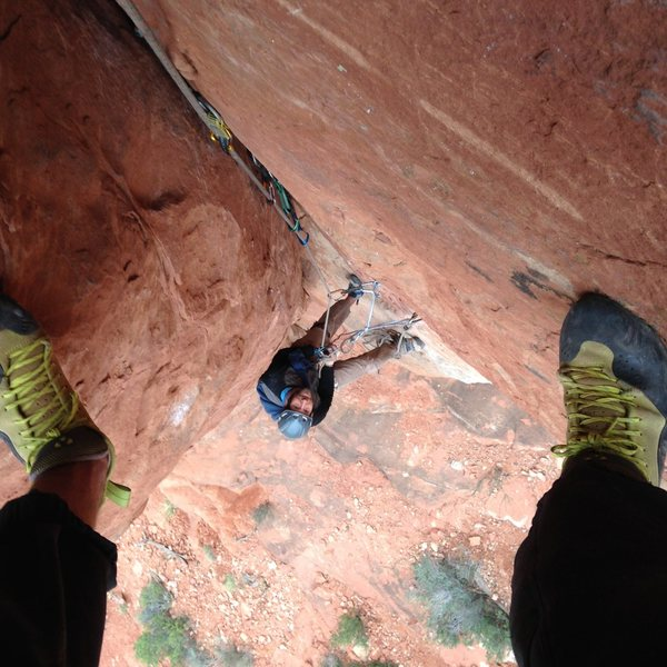Looking down pitch 2 at the hanging belay.