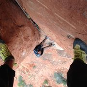 Rock Climbing Photo: Looking down pitch 2 at the hanging belay.