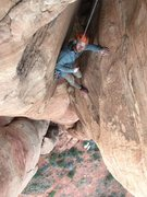 In the chimney at the top of pitch 4. This is the top of Blood, Sweat and Fears.