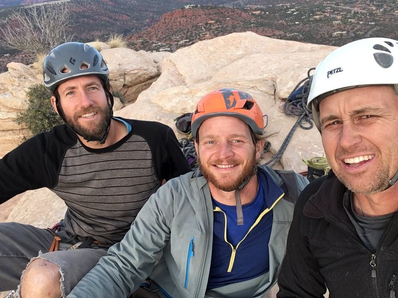 """Josh, Larz and Kevin on the summit of the Mace after the complete FA of """"Little Big Man""""."""