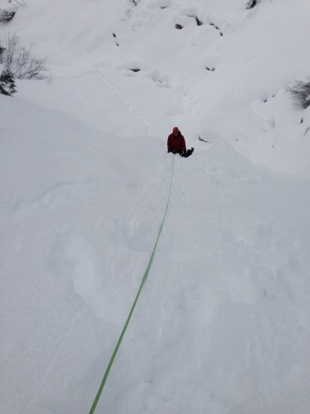 Following on typical pitch in high snow conditions