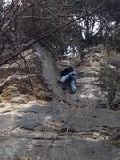 Rock Climbing Photo: Greg climbing through upper dihedral