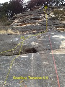 Rock Climbing Photo: Start on lower slab and climb up, passing left of ...