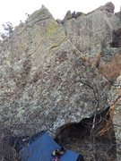 The boulder. The line follows the arete on the right.