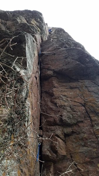 Rock Climbing Photo: Looking up to the 1st belay station