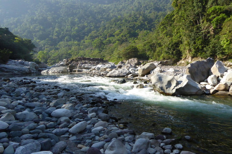 The Rio Cangrejal, Pico Bonito NP. The still water above this rapid is the Jungle River Lodge swimming hole. April 2015