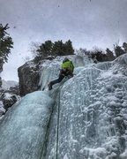 Rock Climbing Photo: Pulling over the first lip on the second pitch of ...