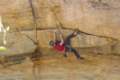 Rock Climbing Photo: Obligatory heel hook clipping shot.  Photo by Jake...