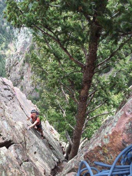 5th pitch of Rewritten in Eldorado Canyon.