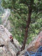Rock Climbing Photo: 5th pitch of Rewritten in Eldorado Canyon.
