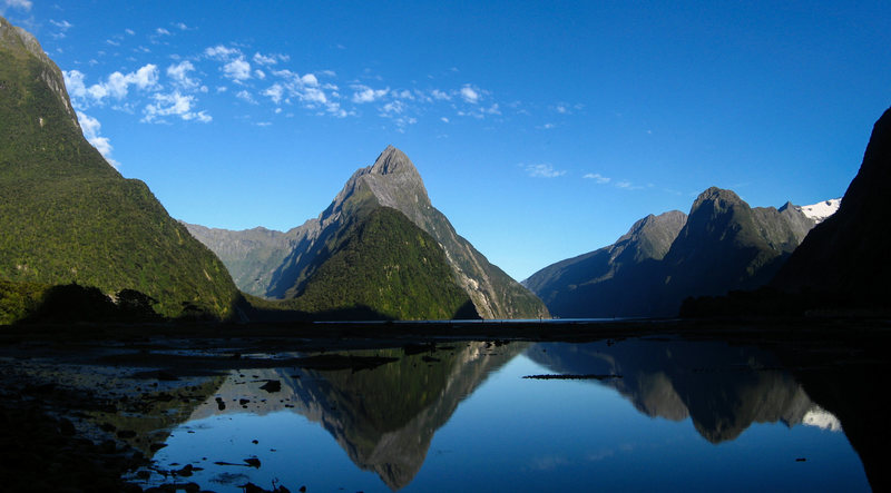 The classic view of Milford Sound and Mitre Peak. January 2011