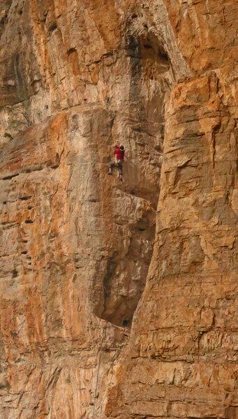 Rock Climbing Photo: Mike moves towards the upper ledge White Washed (5...