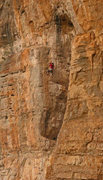 Rock Climbing Photo: Mike moves towards the upper ledge White Washed (5...
