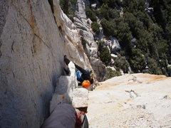 Rock Climbing Photo: John at the P1 flake