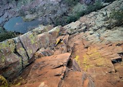 Rock Climbing Photo: Gray Thompson climbing the second pitch of M&M Dih...