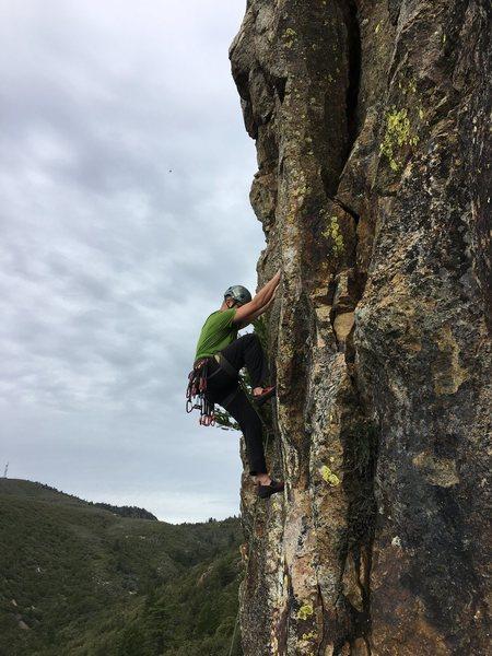 Kevin Radle climbing the start of Macondo.