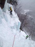 Rock Climbing Photo: Standard Route.  Attempt at a narrow pillar for P3...