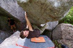 Rock Climbing Photo: Steve working the prow