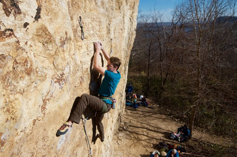 Rock Climbing Photo: Anders setting the heel while working the route