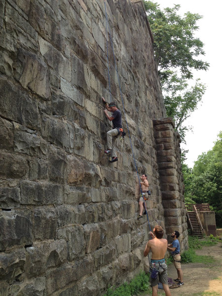 Some new friends and I working a few routes at the Main Wall