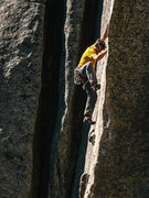 Rock Climbing Photo: Tom Newberry nearing the anchors on Fish Crack. Oc...