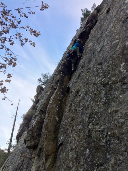 Rock Climbing Photo: Heroic undercling traverse with bomber incut foots...