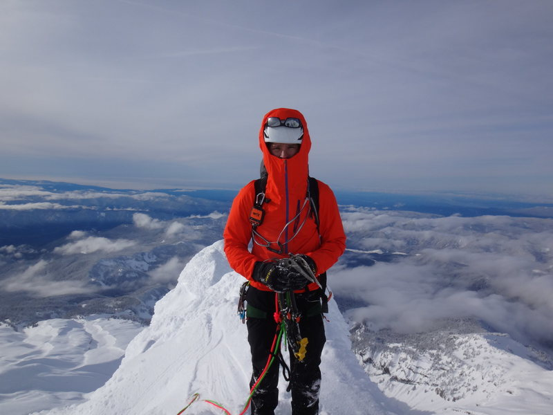 Mike Getlin on top of the summit ridge before we rapped off a bollard. <br> <br> (In snowy conditions don&@POUND@39@SEMICOLON@t plan on finding the rap anchors)