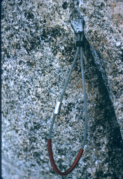 Rock Climbing Photo: The bolt is just down and left of where the swage ...