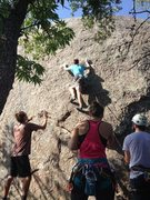 Rock Climbing Photo: Carefully working my way to the second bolt.
