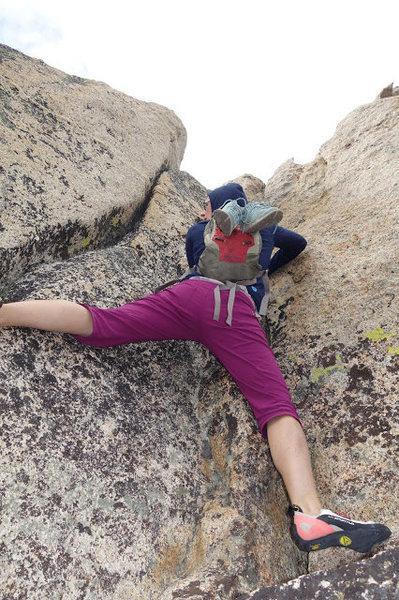 Rock Climbing Photo: 4th class, crack crux (~10-15')