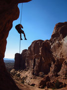Rock Climbing Photo: Coming down the second and final rap. October 2012