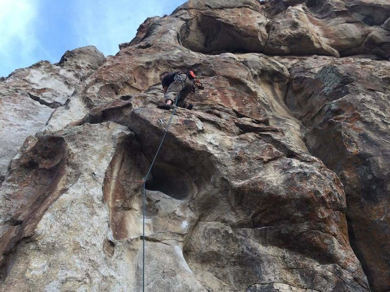 Rock Climbing Photo: Paul Hutton above the low roof on his onsight.