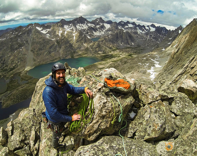Jake Frerk on the summit of the Red Tower after the FA of R.E.G.