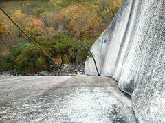 Rock Climbing Photo: From the top of P1 (P2 belay).  Holding the rope o...