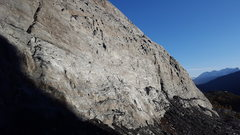 Rock Climbing Photo: Looking down valley at this fun crag O moderate cl...