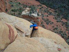 Rock Climbing Photo: Final move. Quintessential Sedona wierdo.