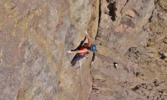 Rock Climbing Photo: Ha at what is probably the crux of Hot Pockets