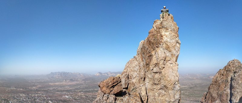 Chris Astraus on the top of Spiderwalk in the Superstitions