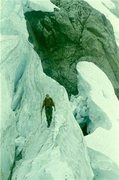 Rock Climbing Photo: Route finding in the icefall of the Lower Curtis G...