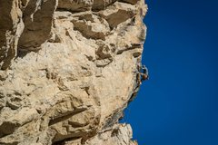 Rock Climbing Photo: Nailing the red point crux on the second pitch.  P...