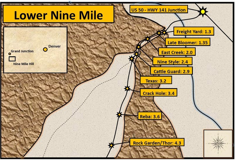 Lower Nine Mile Hill. Distances were measured from U.S. 50/CO Highway 141 junction.