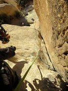 Rock Climbing Photo: Looking down while climbing Pitch 1 of Mikes's...