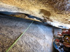 Rock Climbing Photo: Looking down the squeeze behind the giant flake on...