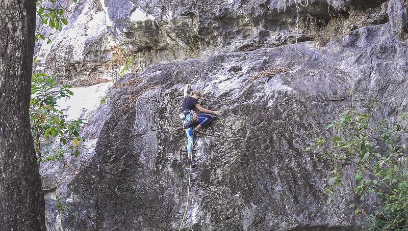 Rock Climbing Photo: Carolien on the FA