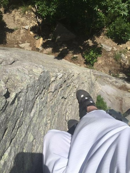Halfway up.  My first free solo