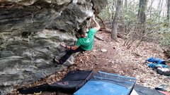 Rock Climbing Photo: Nic sticking the first move.