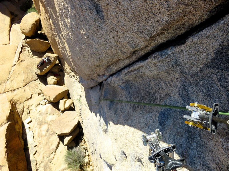 Rock Climbing Photo: Looking down Colorado Crack.