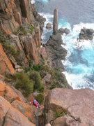 Rock Climbing Photo: Climbing out after climbing the Moai.