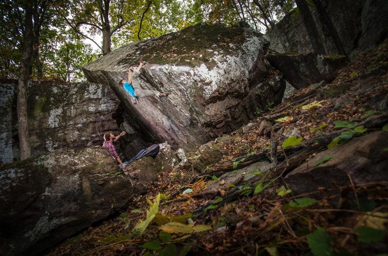 Rock Climbing Photo: Joe working out the beta